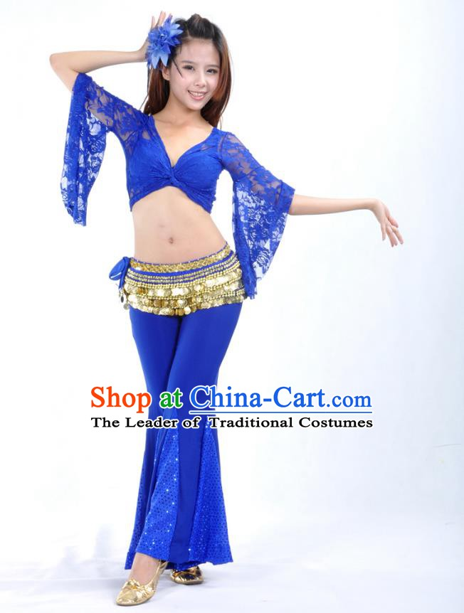 Indian Belly Dance Royalblue Lace Costume India Raks Sharki Suits Oriental Dance Clothing for Women