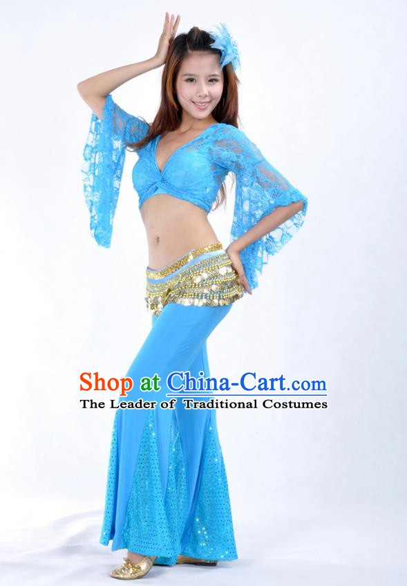 Indian Belly Dance Blue Lace Costume India Raks Sharki Suits Oriental Dance Clothing for Women