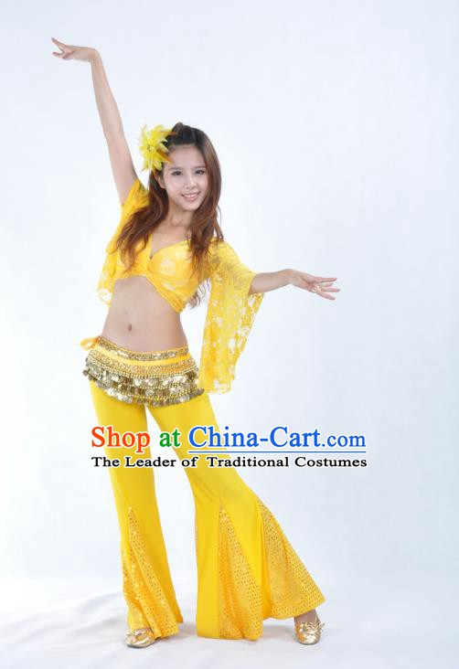 Indian Belly Dance Yellow Lace Costume India Raks Sharki Suits Oriental Dance Clothing for Women