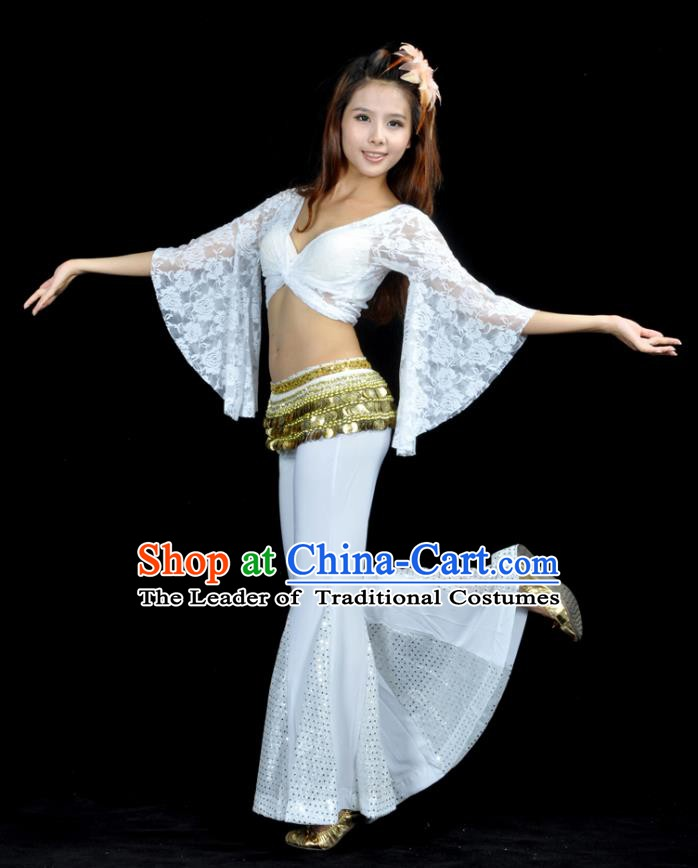 Indian Belly Dance White Lace Costume India Raks Sharki Suits Oriental Dance Clothing for Women
