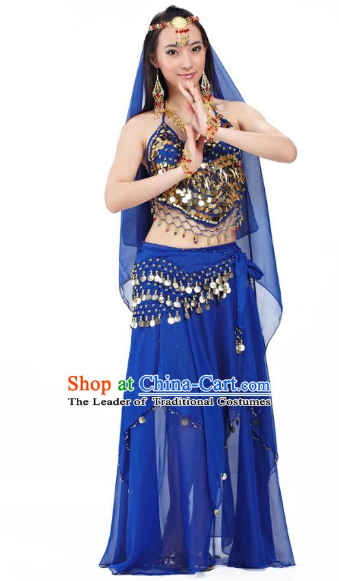 Top Indian Belly Dance Costume Oriental Dance Royalblue Dress, India Raks Sharki Clothing for Women