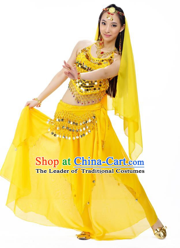 Top Indian Belly Dance Costume Oriental Dance Yellow Dress, India Raks Sharki Clothing for Women