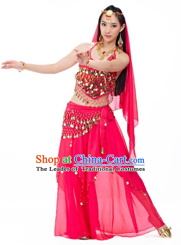 Top Indian Belly Dance Costume Oriental Dance Rosy Dress, India Raks Sharki Clothing for Women