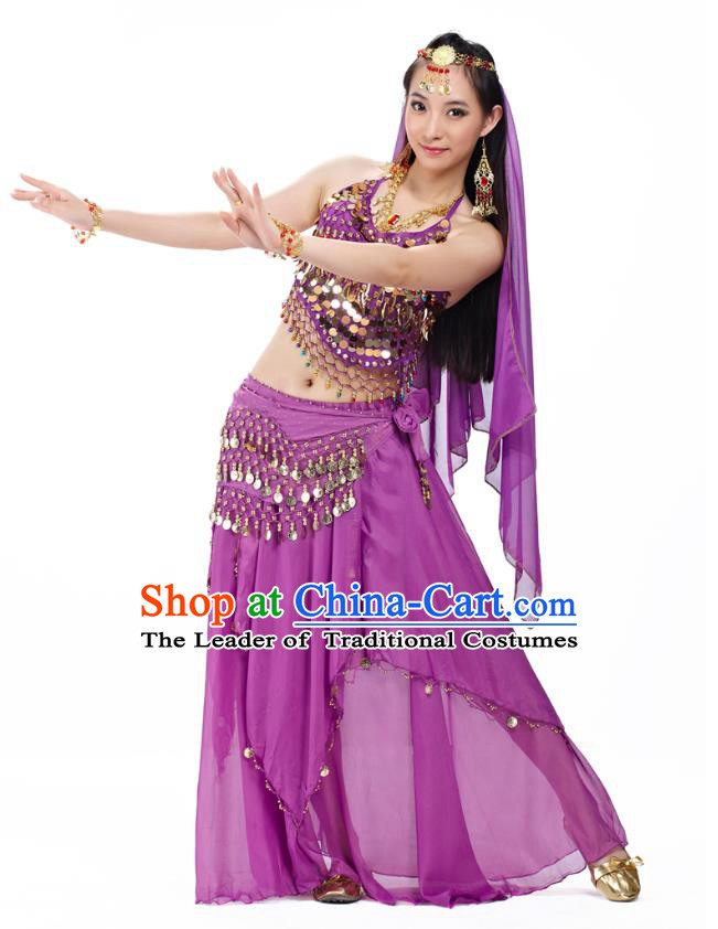 Top Indian Belly Dance Costume Oriental Dance Purple Dress, India Raks Sharki Clothing for Women