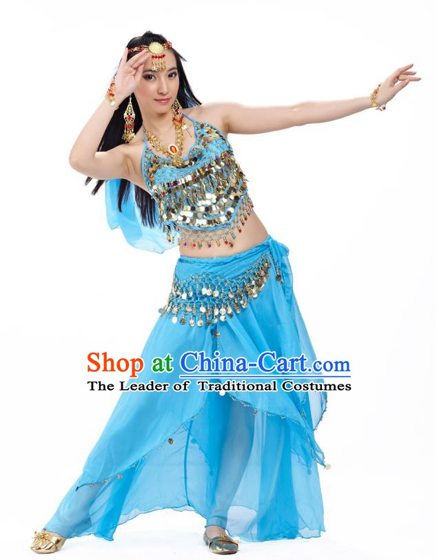 Top Indian Belly Dance Costume Oriental Dance Blue Dress, India Raks Sharki Clothing for Women