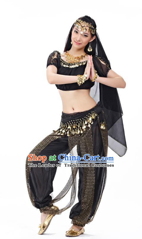 Top Indian Bollywood Belly Dance Costume Oriental Dance Black Dress, India Raks Sharki Clothing for Women
