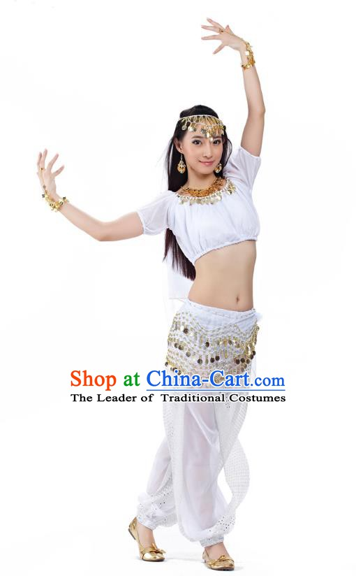 Top Indian Bollywood Belly Dance Costume Oriental Dance White Dress, India Raks Sharki Clothing for Women