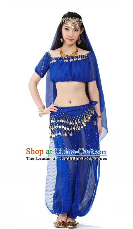 Top Indian Bollywood Belly Dance Costume Oriental Dance Royalblue Dress, India Raks Sharki Clothing for Women