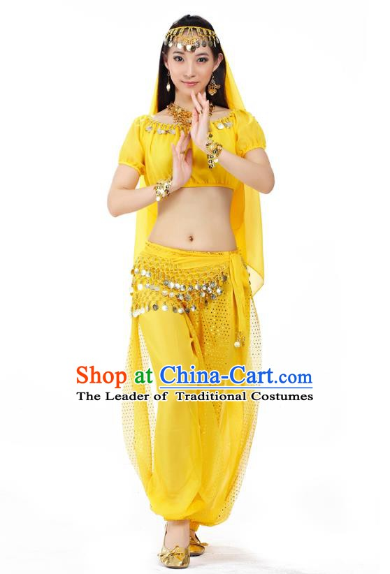 Top Indian Bollywood Belly Dance Costume Oriental Dance Yellow Dress, India Raks Sharki Clothing for Women