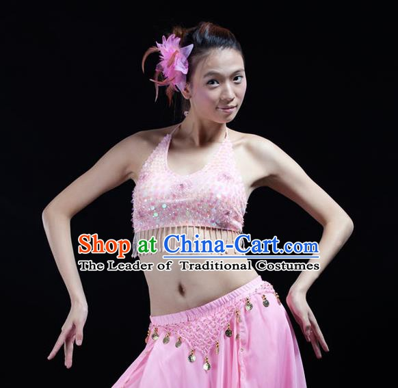 Top Indian Bollywood Belly Dance Costume Oriental Dance Pink Paillette Brassiere for Women