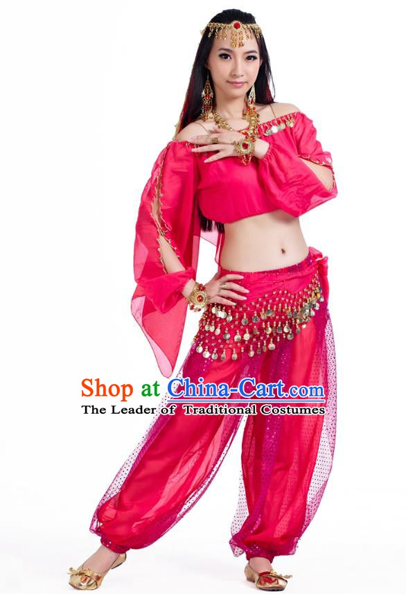 Top Indian Bollywood Belly Dance Rosy Costume Oriental Dance Stage Performance Clothing for Women