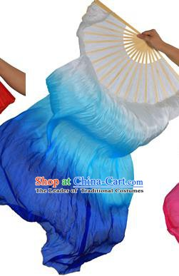 China Folk Dance Folding Fans Yanko Dance White Blue Silk Fans for for Women