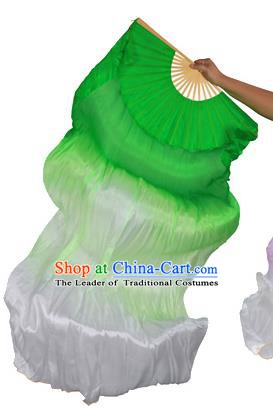 China Folk Dance Folding Fans Yanko Dance Green White Silk Fans for for Women