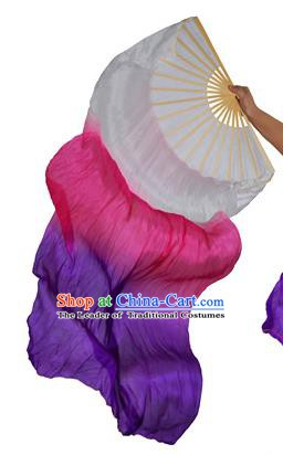 China Folk Dance Folding Fans Yanko Dance Rosy Purple Silk Fans for for Women