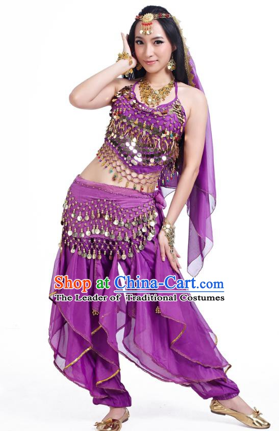 Indian Oriental Belly Dance Purple Costume, India Raks Sharki Bollywood Dance Clothing for Women