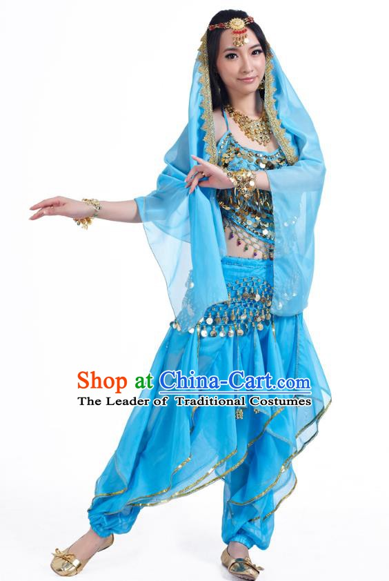 Indian Oriental Belly Dance Blue Costume, India Raks Sharki Bollywood Dance Clothing for Women