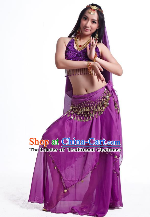 Indian Belly Dance Costume Oriental Dance Purple Dress, India Raks Sharki Bollywood Dance Clothing for Women