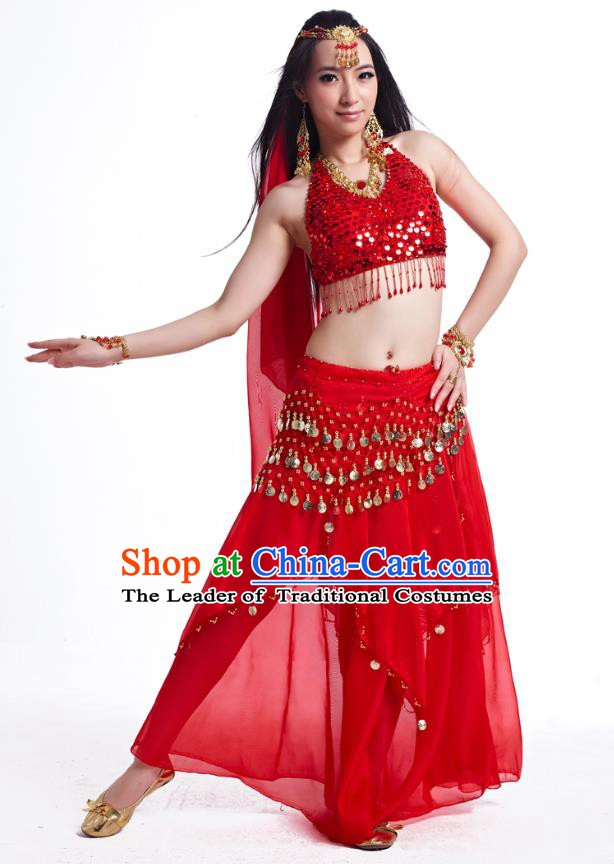 Indian Belly Dance Costume Oriental Dance Red Dress, India Raks Sharki Bollywood Dance Clothing for Women