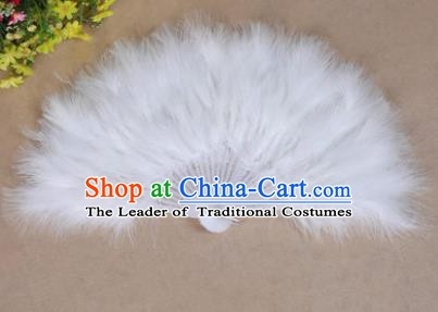 China Folk Dance Folding Fans Yanko Dance White Feather Fans for Women