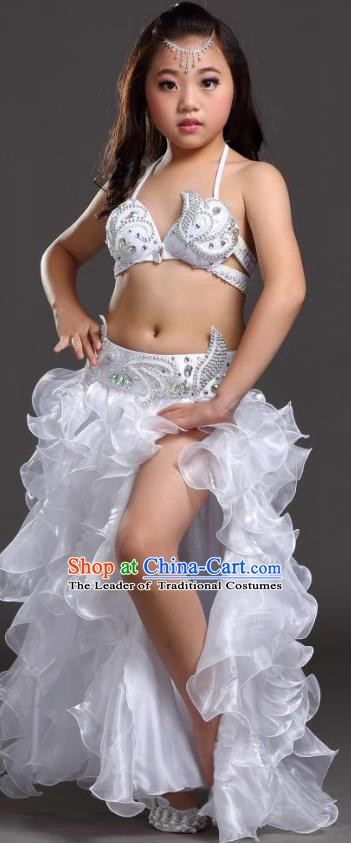 Top Indian Belly Dance Costume Bollywood Oriental Dance Stage Performance White Dress for Kids