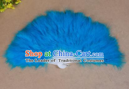 China Folk Dance Folding Fans Yanko Dance Blue Feather Fans for Women