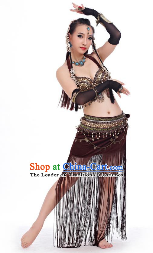 Asian Indian Belly Dance Primitive Tribe Dance Brown Costume India Bollywood Oriental Dance Clothing for Women
