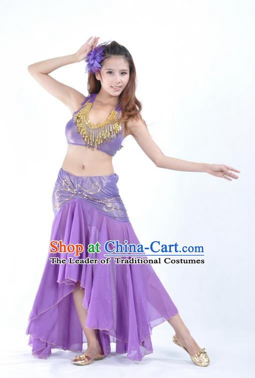 Asian Indian Traditional Belly Dance Costume India Oriental Dance Purple Dress for Women