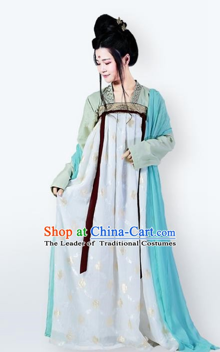 Traditional Chinese Ancient Palace Lady Costume Tang Dynasty Princess Slip Dress for Women
