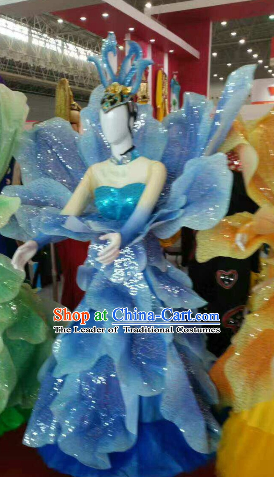 Blue Chinese Classical Flower Dance Costume Dancing Costumes and Headpieces Complete Set for Women