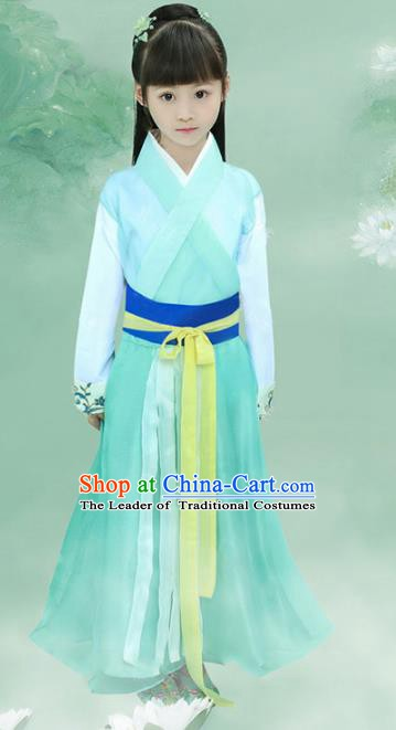 Asian Chinese Ancient Swordswoman Costume Han Dynasty Young Lady Clothing for Kids