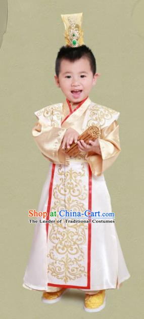 Traditional Chinese Han Dynasty Royal Emperor Costume and Headwear for Kids