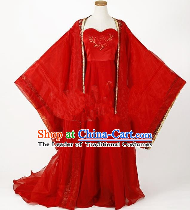 Traditional Chinese Tang Dynasty Palace Lady Princess Wedding Costume Ancient Bride Clothing for Women