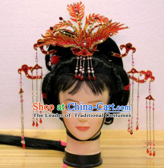 Traditional Handmade Chinese Beijing Opera Hair Accessories Princess Phoenix Coronet Hairpins Complete Set for Women