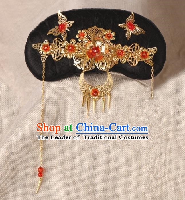 Chinese Handmade Classical Qing Dynasty Hair Accessories Ancient Manchu Princess Headwear Hairpins for Kids