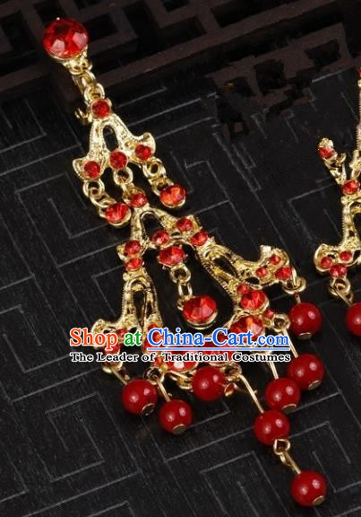 Chinese Handmade Classical Red Crystal Earrings Accessories Ancient Princess Eardrop for Women