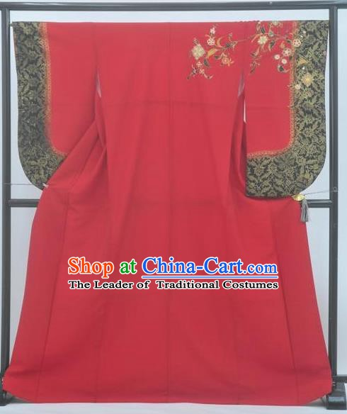 Asian Japanese Traditional Costumes Japan Furisode Kimono Yukata Red Dress Clothing for Women