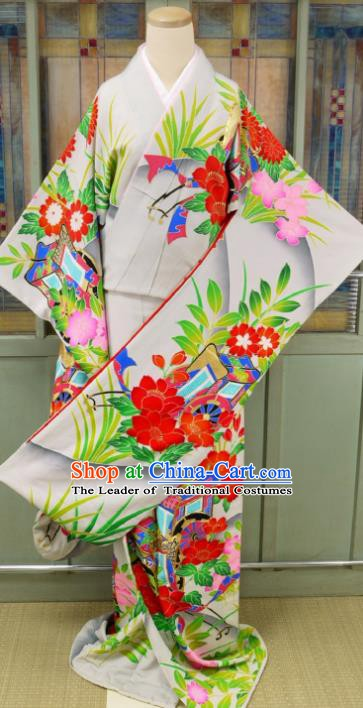 Asian Japanese Traditional Costumes Japan Furisode Kimono Yukata Printing White Dress Clothing for Women