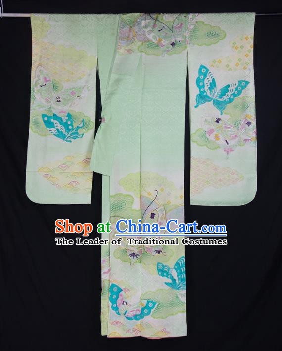 Asian Japanese Traditional Costumes Japan Printing Butterfly Green Furisode Kimono Yukata Dress Clothing for Women