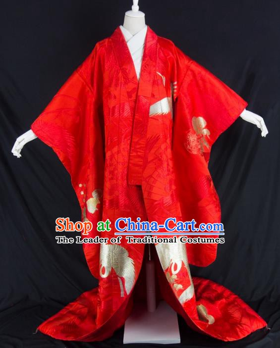 Asian Japanese Traditional Wedding Costumes Japan Embroidered Furisode Kimono Yukata Red Dress Clothing for Women