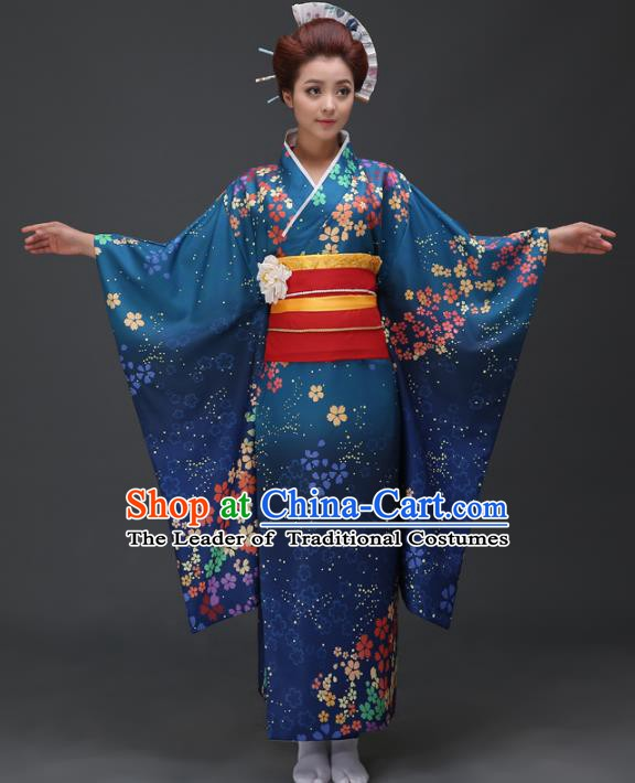 Asian Japanese Traditional Costumes Japan Printing Blue Furisode Kimono Yukata Dress Clothing for Women