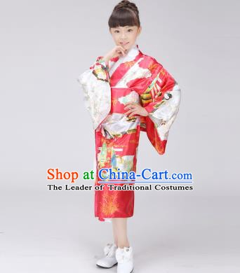 Asian Japanese Traditional Costumes Japan Printing Satin Furisode Kimono Yukata Red Dress Clothing for Kids