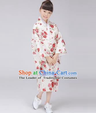 Asian Japanese Traditional Costumes Japan Satin Furisode Kimono Yukata Printing Rose Dress Clothing for Kids