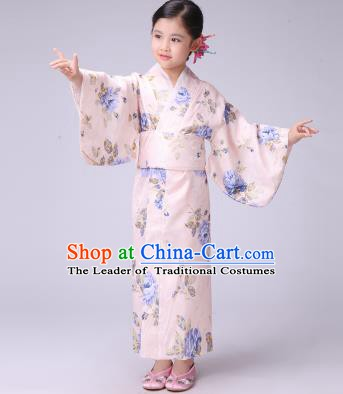 Asian Japanese Traditional Costumes Japan Satin Furisode Kimono Yukata Printing Blue Peony Dress Clothing for Kids