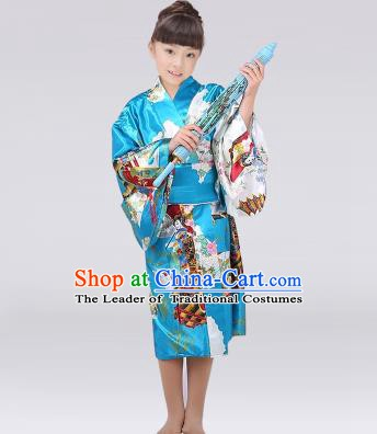 Asian Japanese Traditional Costumes Japan Satin Furisode Kimono Yukata Printing Blue Dress Clothing for Kids