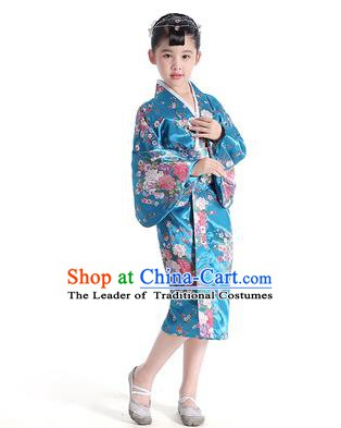 Asian Japanese Traditional Costumes Japan Satin Furisode Kimono Yukata Printing Peony Blue Dress Clothing for Kids