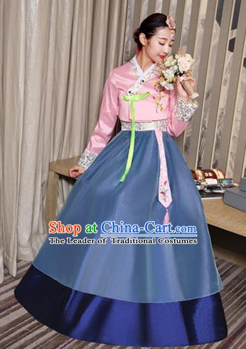 Asian Korean Dance Costumes Traditional Korean Hanbok Clothing Embroidered Pink Blouse and Blue Dress for Women