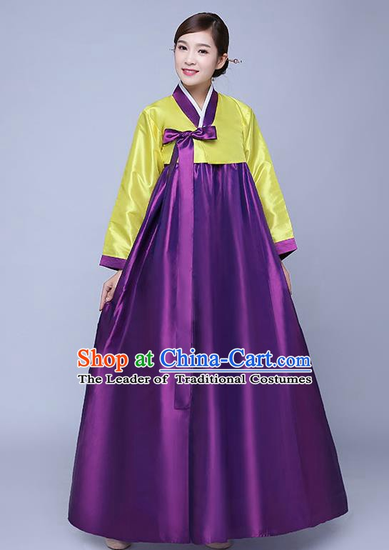 Asian Korean Dance Costumes Traditional Korean Hanbok Clothing Wedding Yellow Blouse and Purple Dress for Women
