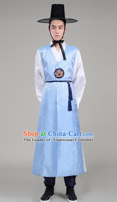 Asian Korean Court Emperor Costumes Blue Robe Traditional Korean Hanbok Clothing for Men