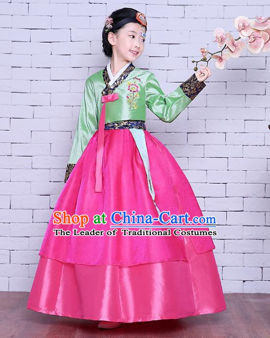 Asian Korean Dance Costumes Traditional Korean Children Hanbok Clothing Green Blouse and Rosy Dress for Kids