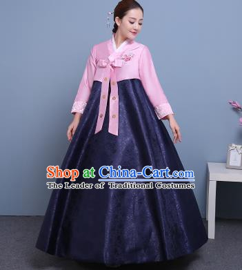Asian Korean Court Costumes Traditional Korean Hanbok Clothing Pink Blouse and Navy Dress for Women